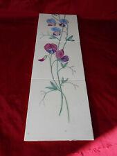 altes Fliesenbild handgemalt Blütenranken Wicken Jugendstil