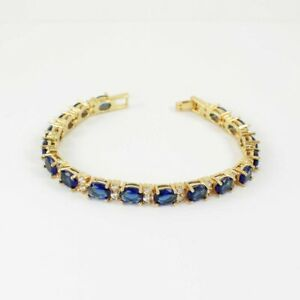 Blue Sapphire and Diamond Tennis Bracelet 14K Yellow Gold-Filled / Oval-Shaped