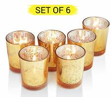 Set of 6 Golden Mercury Votive Glass Tealight Candle Holders Lighting Decoration