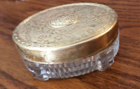 Vintage Small Glass Dresser Perfume Trinket Jar Ornate GOLD Metal Lid