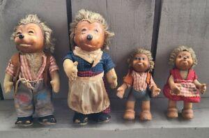 Vintage 1950s STEIFF Hedgehog Family Micki Mecki Mucki Macki GERMANY RARE