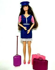 """Barbie Flight Attendant Clothes Suitcase Luggage Hat Shoes and 11"""" Barbie Doll"""