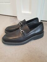 Gucci Mens Horsebit Loafers Black Leather Buckle Shoes Size 8.5 Vintage