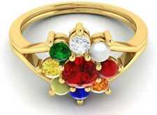 14k Yellow Gold Finish Natural Gemstones For Astrology Purpose Navaratna Ring