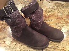 Ugg Boots Shimmer Sweater Gray Buckle Cambridge Mid Calf SZ 7