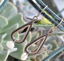 Freshwater Pearl Drop Earrings W1388 Silpada Oxidized Textured Sterling Silver