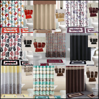 ALL SEASONS 19PC BATHROOM SET SHOWER CURTAIN HOOKS MATS SOLID CERAMIC ACCESORIES