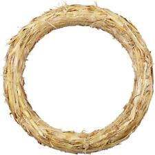 Christmas Wreath Natural Straw Round Shaped Golden Decorations Flora Crafts 27cm