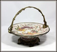 """Elegant  """"Hand Painted Porcelain & Bronze Compote with Handle""""  (10"""" H x 12"""" W)"""