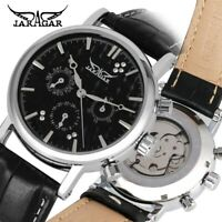 JARAGAR Luxury Trendy Auto Mechanical Wrist Watch Leather Womens Men's Date Gift