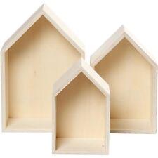 3 Teiliges unbehandelt Holz Haus Regal Wand Shabby Aufbewahrung Box Kasten Landh