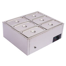 Stainless Steel 6-Pan Steamer Commercial Food Warmer Buffet Electric Countertop