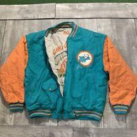 RARE Vintage Miami Dolphins 1972 Mirage Bomber NFL Reversible Jacket Mens Large