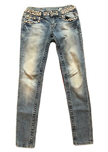 MISS ME WOMEN  SKINNY JEANS WITH RHINESTONES DISTRESSED SIZE 25