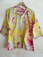 Tunic kurta Blouse Tie Dye hand embroidered  100% silk beach cruise hippy style
