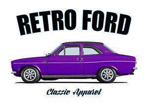 FORD ESCORT 1300E mk1 t-shirt. RETRO FORD , CLASSIC CAR, ESCORT MARK 1.