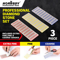 3pc Large Diamond Sharpening Hone Set Stone Whetstone Block Kitchen Knife