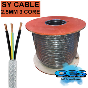 SY 2.5MM 3 CORE STEEL BRAIDED MULTICORE CONTROL FLEXIBLE CABLE SOLD PER METRE