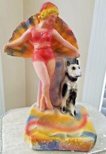 Fantastic 1940 Large Carnival Chalkware Prize SunBathing Fan Girl w/ Dog Ashtray