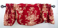 """Country Toile House Red Valence Waverly Rod Pocket Scallop 52"""" Floral Corded Pip"""