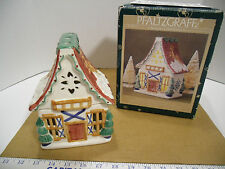 1999 Pfaltzgraff Nordic Christmas Sculpted Pierced Ski Chalet Holiday Tea Lite