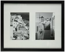 11x14 Black Photo Wood Collage Frame with REAL GLASS & White Mat for(2)5x7photo