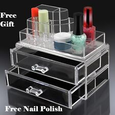 Make Up Organiser Clear Drawer  Display Storage Jewellery case FREE NAIL POLISH