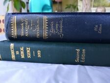 2 Medical Text Books 1940's  Introduction to Medical Science Anatomy Physiology