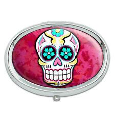 Sugar Skull Metal Oval Pill Case Box