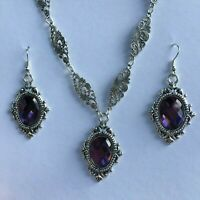 VICTORIAN FRAME STYLE PURPLE FACETED GLASS SILVER PLATED NECKLACE EARRINGS SET