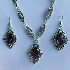 VICTORIAN STYLE PURPLE FACETED GLASS SILVER PLATED NECKLACE EARRINGS SET  FRAME