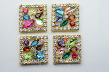 5 Costume Dress Square Colorful Crystal Rhinestone Applique Sewing On A624 Gold