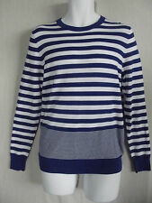 Mens EXPRESS LARGE BLUE & WHITE MIXED STRIPED SWEATER Lightweight CREW NECK L