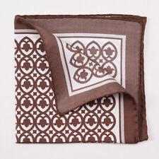 New CESARE ATTOLINI NAPOLI Chocolate Brown Floral Medallion Silk Pocket Square