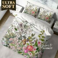 Watercolor Garden Floral  Green Doona Cover Sets Single Double Queen King Size