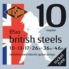 Rotosound BS10 British Steels Electric Guitar Strings 10-46 New Foil Fresh Packs