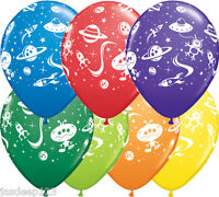 Aliens and Space Ships Printed Latex Balloons Birthday Party Kids Stars Planets