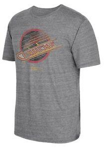 Vancouver Canucks Men's Retro Logo Distressed Tri-Blend Gray T-Shirt