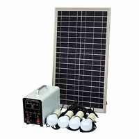 25W Off-Grid Solar Lighting System with 4 LED Lights, Solar Panel and Battery
