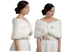Elegant Faux Fur Bridal Wedding Winter Wrap Bolero Coat Shawl Ivory S/M/L/XL