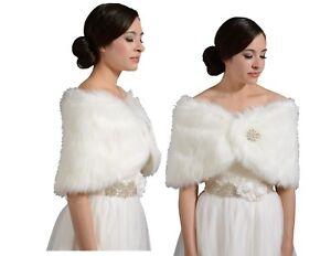 Elegant Faux Fur Bridal Wedding Winter Wrap Bolero Coat Shawl Ivory S/M/L/XL