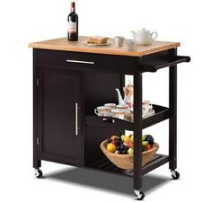 Kitchen Island Cart Modern Black Bamboo with Wood Top