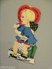 Vtg Valentine Card Little Girl Chewing Gum Every Chew Think of You Unused