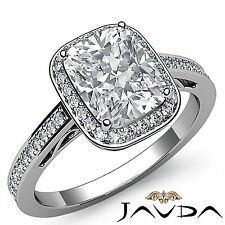Halo Cushion Cut Diamond Fine Engagement Ring GIA Certified G SI1 Platinum 1.5ct
