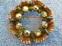 Vintage Brooch Gorgeous Aurora Borealis Rhinestones in Gold Tone metal