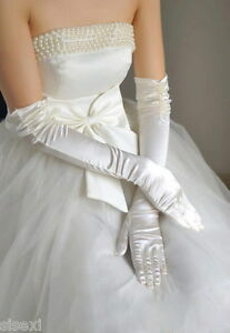 LONG GANTS BLANC SEXY SATIN BLANC MARIAGE RéCEPTION SOIRéE WOMAN GLOVES FEMME