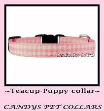 "Pink & White Gingham Teacup/Puppy Dog Collar 6.5""~8"""