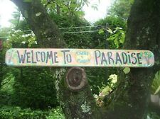 PER. WELCOME TO PARADISE  TROPICAL TIKI HUT BAR POOL PATIO BEACH SIGN PLAQUE 46""