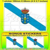 "GALICIA SPAIN Galician Flag, Bandera Vinyl Decal, Sticker 4"" (100mm) x1+2 BONUS"