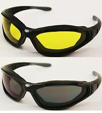 Reactalight Yellow Lens Biker Motorcycle Padded Sunglasses Cruiser Bobber